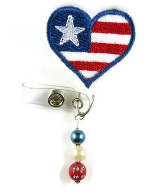 Flag Heart - Nurse Badge Reel- Retractable ID Badge Holder - Nurse Badge - Badge Clip - Badge Reels - Pediatric - RN - Name Badge Holder