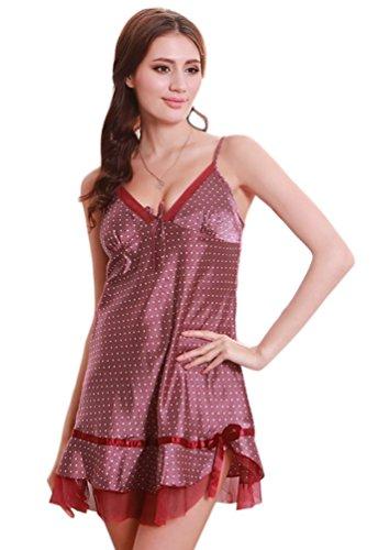 NiSeng mujer camison satín lujoso vestido de noche pyjamas patrón de puntos Rojo Vino