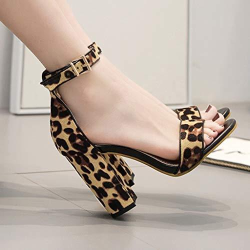 Soirée Pour À De Moika Mariage Talon Haut Femme Marron CarréDames Fête 10cm Été Sandales Chaussures cFJ1TlK