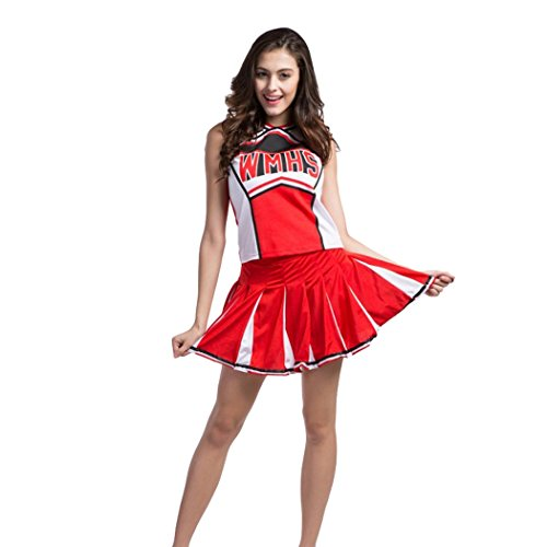 Ladies Sexy Varsity High School Cheer Girl Sexy Cheerleader Costume Uniform Halloween Fancy Dress Costume -