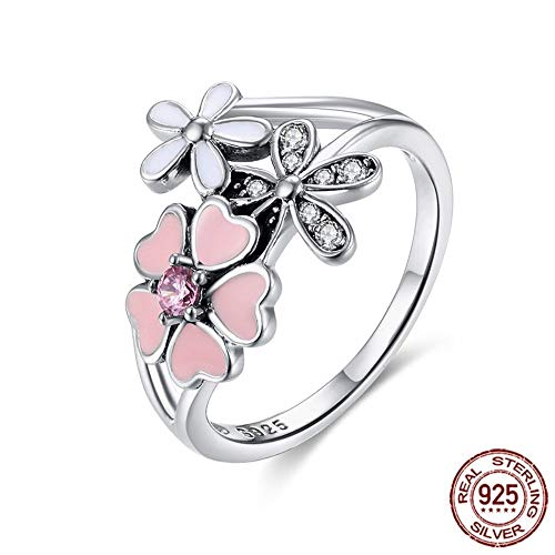 (THTHT Flower Ring 925 Sterling Silver Rings Pink Primrose Darling for Women Wedding Bouquet Jewelry,6)