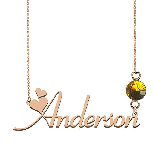 Custom Name Necklaces Sterling Silver 925 Birthstone Charms for Kids Anderson