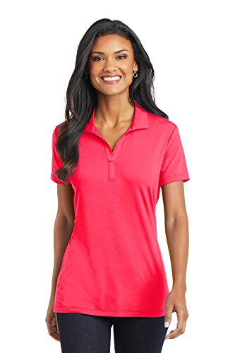 Hot Coral Apparel - Port Authority Women's Cotton Touch Performance Polo, Hot Coral, X-Large
