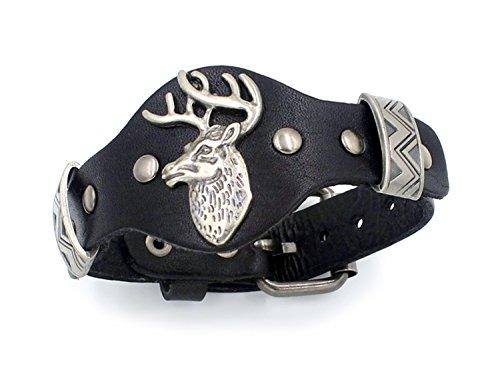 DEER / ELK WATCHBAND DESIGN LEATHER BRACELET - Silver Watch Jewelry Indian