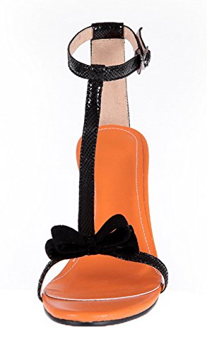 Open WeenFashion Heels Toe Heeled Pu Black Solid Women's High Sandals Buckle 1q4r4AXw
