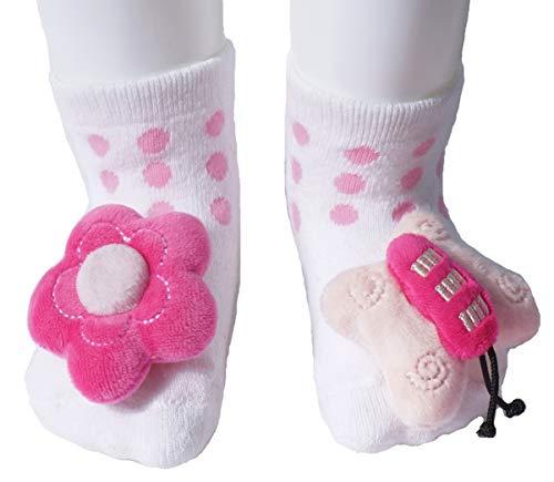 growbabygrow Newborn Baby Rattle Feet Cotton Terry Socks for 0-12months (1Pair Flower/Butterfly)