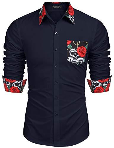 COOFANDY Men's Floral Print Long Sleeve Shirt Slim Fit Casual Button Down Shirt (XL, Navy blue1)