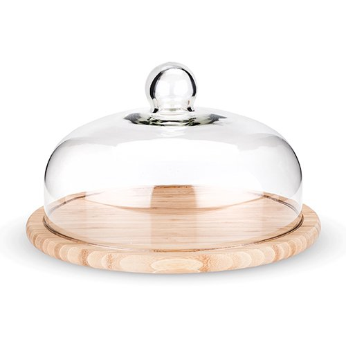 Cupola Bamboo Cheese Board with Dome by (Glass Cheese Board)