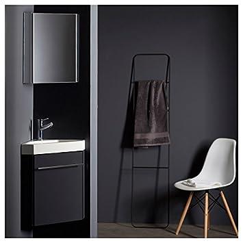 Pack meuble lave-mains d\'angle gris anthracite brillant: Amazon.fr ...