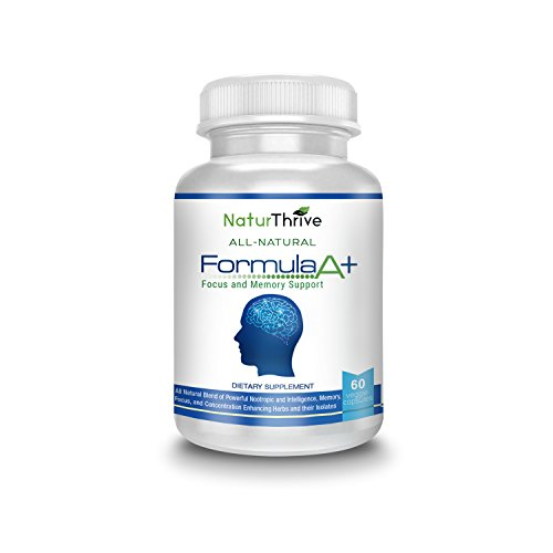 NaturThrive Formula A+ - All Natural Nootropic Brain Health Supplement with Brahmi, Ginkgo Biloba, Glutamine, and More -Boost MEMORY, Focus, Concentration: Limitless Possibilities