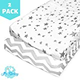 White Mini Crib with Changing Table Changing Pad Cover Set | Craddle Sheets - 2 Pack - 100% Jersey Cotton Fabric. Unisex Stylish Gray Chevron and Star Prints.