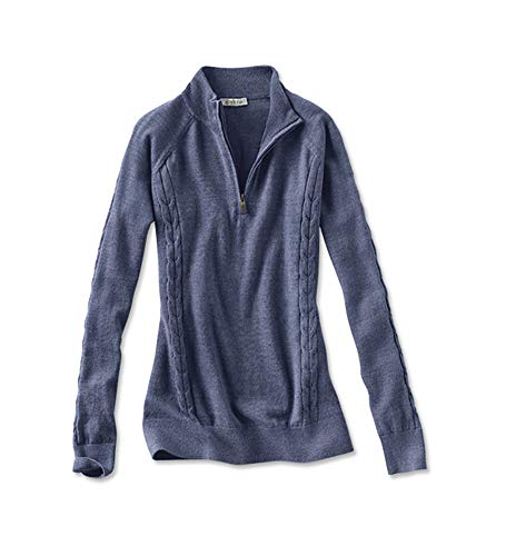 Orvis Women's Signature Merino Quarter-Zip Sweater, Blue Spruce, X Small