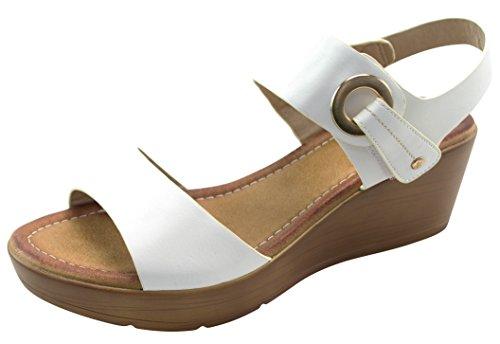 Cambridge Select Dames Open Teen Metallic Accent Laag Midden Dikke Platform Sleehak Sandaal Wit