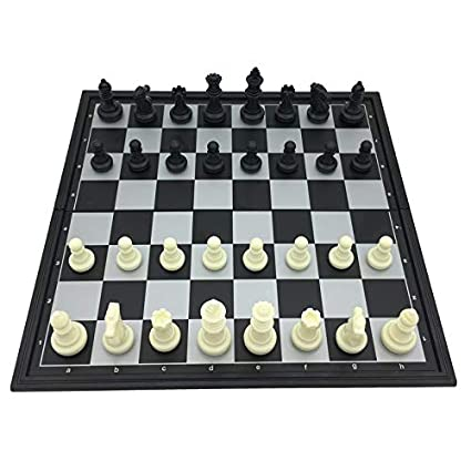 Akanksha Deal Standard Folding & Magnetic Chess Tournament Set Board Size 25 cm x 25 cm King Height 5 cm Travel Games Gifts for Kids & Adults