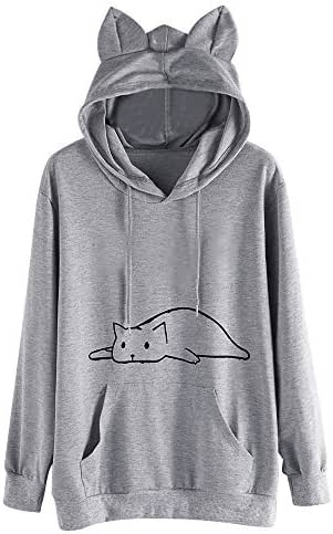 Women Fashion Casual Cat Ear Print Solid Long Sleeve Hoodie Sweatshirt Hooded Pullover Tops Blouse with Pocket