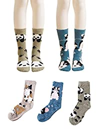 3-5 Pairs Women's Colorful Winter Warm Socks Soft Crew Boot Sock Gift Idea US5-9