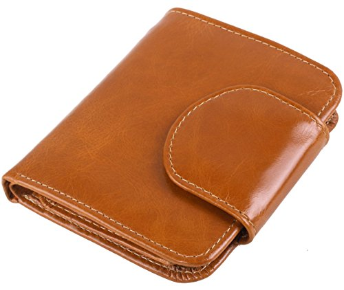 Womens Leather Mini Tan (Women's Small Genuine Leather Clutch Wallet Ladies Mini Cute Bi-Fold Purse (Tan))