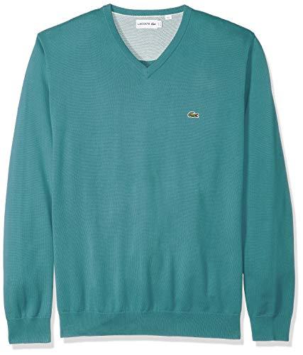 Lacoste Men's Long Sleeve Half Moon V Neck Jersey Sweater, Flour/Tide Blue, Large