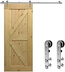 152CM/5FT Herraje para Puerta Corredera Kit de Accesorios para Puertas Correderas Juego de Piezas de acero inoxidable Carril para Puerta Deslizante,para puerta de madera: Amazon.es: Bricolaje y herramientas
