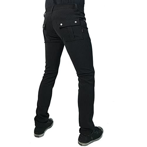 95b15bebd315fe 50%OFF Tripp Gothic Punk Rocker Rockabilly Wedding Skinny Black Gray  Pinstripe Pants Trousers