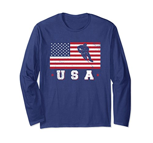 fan products of Unisex American USA Flag Ice Hockey T-Shirt Patriotic Sports Gift Large Navy