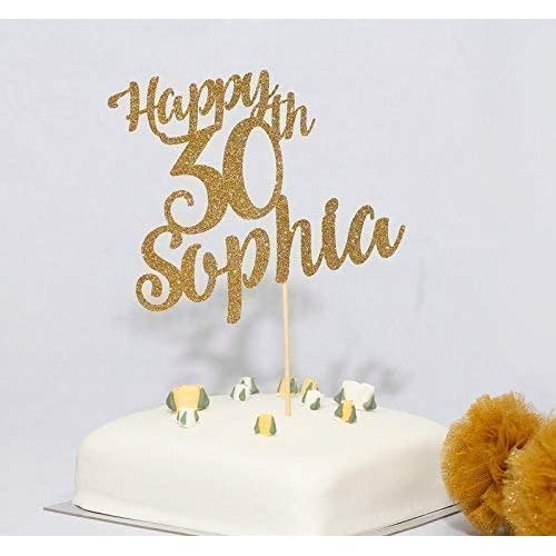 Personalised Name And Age Birthday Cake Topper Happy 30th 40th