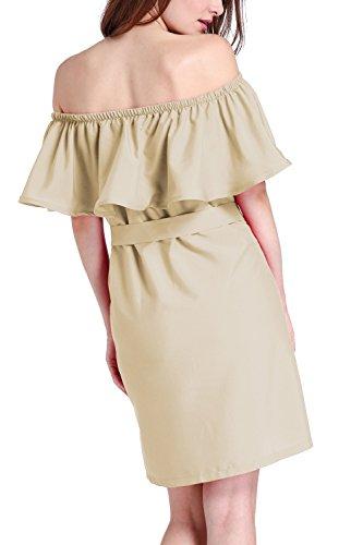Las Mujeres Hombro Ruffle Tunic Vestido Elegante Gargantilla Khaki