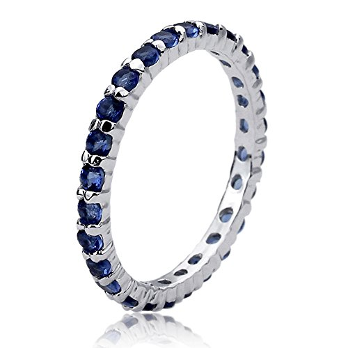 Prime Pristine Sterling Silver 2mm Deep Blue Color Eternity Stackable Wedding Band Engagement Ring -Size: (Blue Eternity Band)