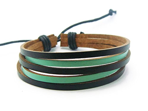APECTO Jewelry Mens Womens Genuine Leather Bracelet, Surfer Wrap Bangle (Mint Green & Black), SB22
