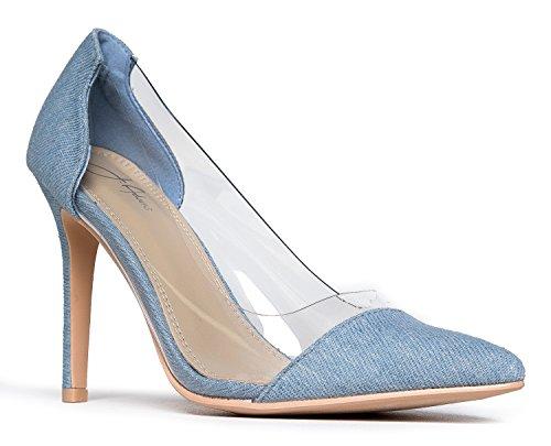J. Adams Clear Pointed Toe Pump Heels Light Denim, 7 B(M) US
