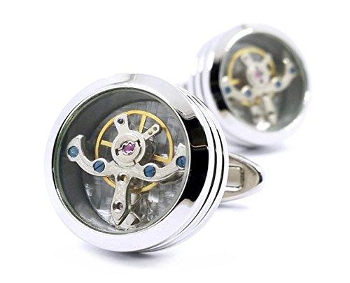 LBFEEL Vintage Watch Steampunk Cufflinks Mechanical Watch Movement Cufflinks (Tourbillon-1) ()