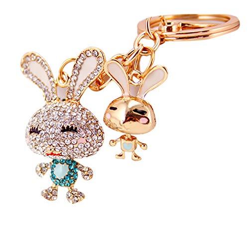 Rhinestone Rabbit Pendant - Cute 2 Gold Rabbit Rhinestone Keychain Handbag Purse Charm Pendant Gift for Women