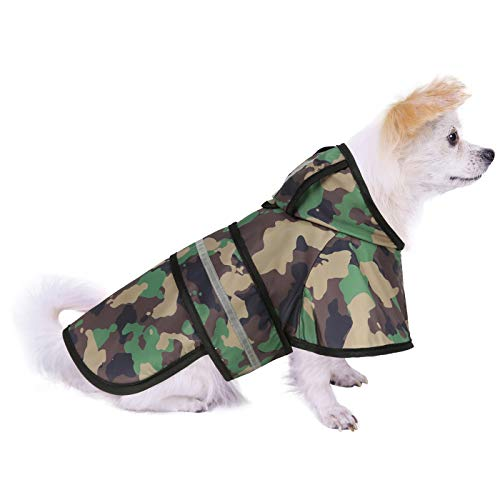 HDE Dog Raincoat Hooded Slicker Poncho for Small to X-Large Dogs and Puppies (Camo, Small)