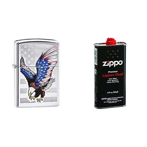 Zippo Flag Design Eagle Pocket Lighter, High Polish Chrome with 12 oz Lighter Fluid ()