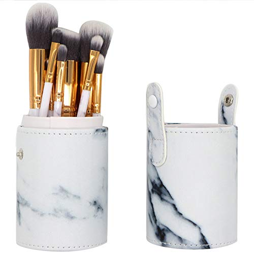 Joykith Makeup Bag Separate Bucket Marble Makeup Brush Tube Makeup Brush Storage Tube Leather Cosmetic Cup Case Makeup Brush Pen Holder Empty Storage Box Organizer (Brush Makeup Pouch Empty)