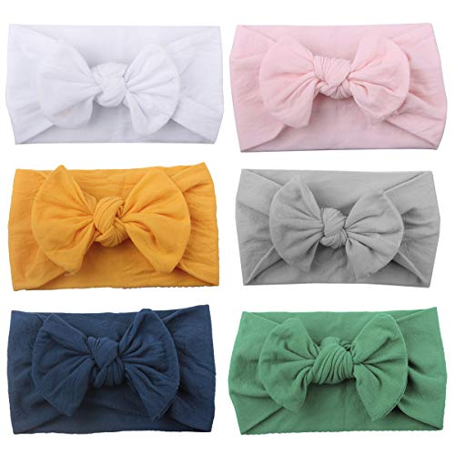 Century Star Soft Hair Bands For Baby Girl Turban Knotted Infants Toddler Newborn Elastic Bow Headband 5 PCS One Size
