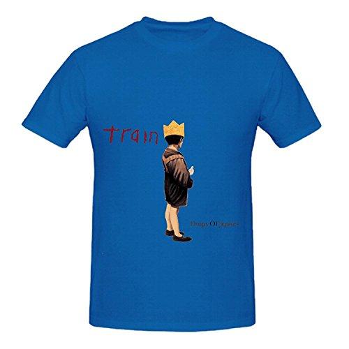 Train Drops Of Jupiter Electronica Men O Neck Cool Tee Blue (Disco Dancewear)