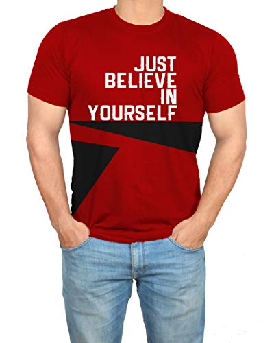 Bodybuilding Red Gym Mens Shirt - Just Believe Adult Athletic Tshirt (XS)