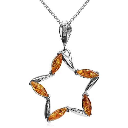 Miel Ambre Collier avec pendentif étoile en argent sterling Chaîne 46cm