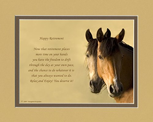 Retirement Gifts. Horses Photo with Retiree Best Wishes Poem, 8x10 Double Matted. Unique Retiring Gift for men, women, coworkers, friends or family retirees.