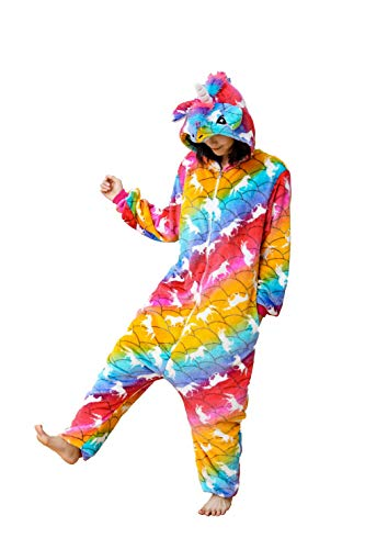 Animal Jumpsuits For Adults (Soft Flannel Animal Jumpsuit Halloween Cosplay Unicorn Costume,Mermaid Huma)