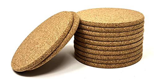 Cork Coasters - Round Blank Cork Drink Coasters 4 Inches with Rounded Edges - 1/4 Inch Thick - Pack of 12 - Coasters For Drinks, DIY Crafts, Plants, Party and - Round 4 Inch Coaster
