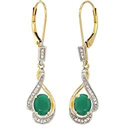 14K Yellow Gold Natural Emerald Oval 7x5 mm Lever Back Earrings, 1 7/16 inch long