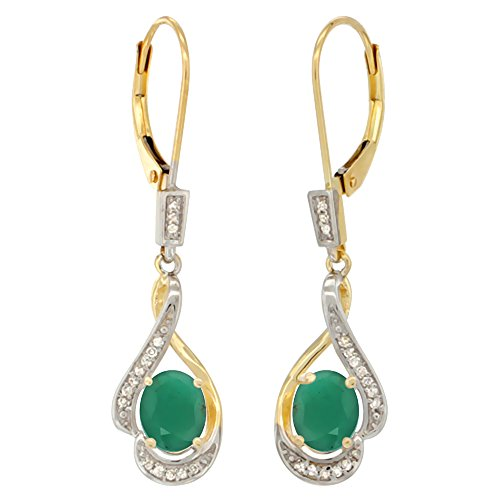14K Yellow Gold Diamond Natural Cabochon Emerald Leverback Earrings Oval 7x5mm, 1 7/16 inch long ()