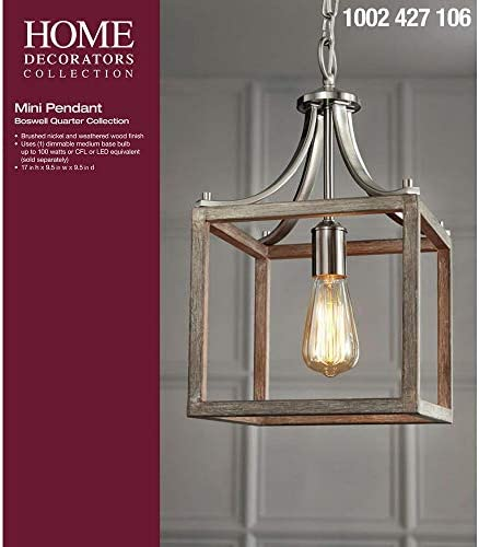 Home Decorators Collection Boswell Quarter Collection 1-Light Brushed Nickel Mini Pendant
