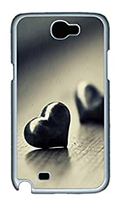 Samsung Note 2 Case Two Black Hearts 769 PC Custom Samsung Note 2 Case Cover White