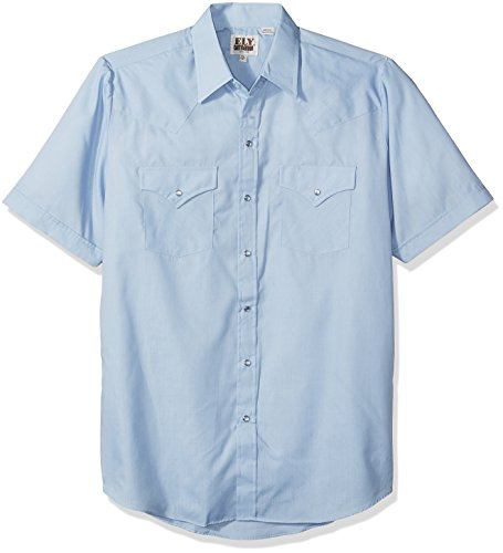 Ely & Walker Men's Short Sleeve Solid Western Shirt, Light Blue, Large ()