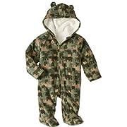 Healthtex Baby Boy Pram Snowsuit Faux Fur Fleece Footed Suit Choose Your Style Sizes Newborn, 0-3,3-6, 6-9 Months (3-6 Month, Camo)