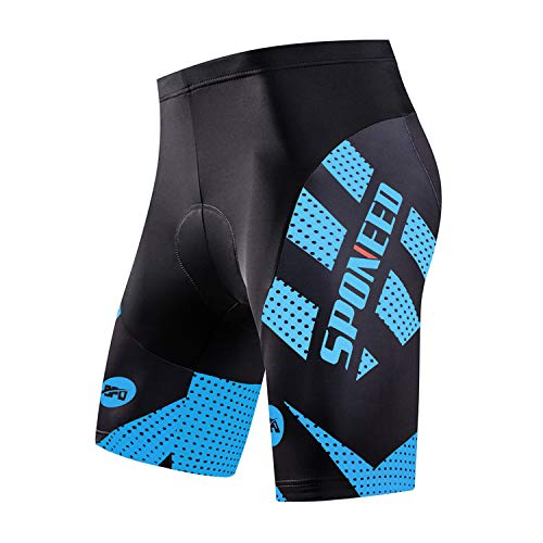 sponeed Men's Cycling Shorts Padded Biking Pants Underwear Coolmax Gel Cycle Tights US XXXL Blue ()