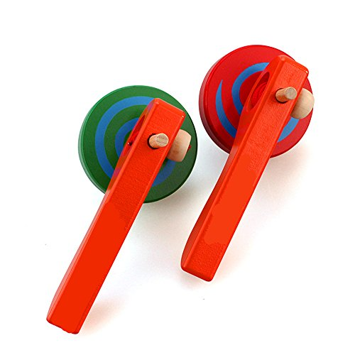 FQStech 2PCS Wooden Spinning Top gyroscope peg-top With handle and Pull String Wire,can Last long time, color random